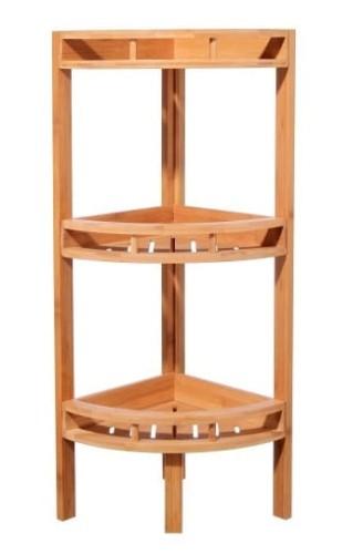 Regał Z Półkami Narożny Drewno Bambusowe